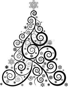 ORNATE SWIRL CHRISTMAS TREE AND SNOWFLAKES