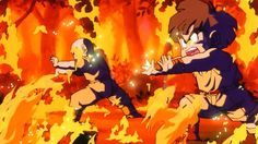 Gohan e Kuririn dispersando as chamas