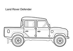 Car coloring pages for kids  Land Rover Defender, printable free, #coloringpage, #coloringpages, #kids, #cars