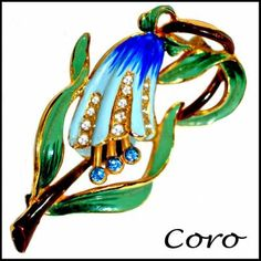 Vintage Coro Enameled Flower Pin Brooch from Opulent Style