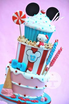 Cake, Ice Cream, Candy and Popcorn Cake with mickey and hello kitty Bolo Hello Kitty, Hello Kitty Birthday, Cake Topper Tutorial, Cake Toppers, Candy Cakes, Cupcake Cakes, Sweets Cake, Cake Fondant, Cute Cakes