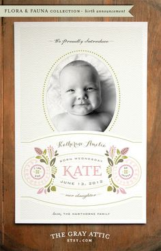 Flora & Fauna Baby Girl Birth Announcement