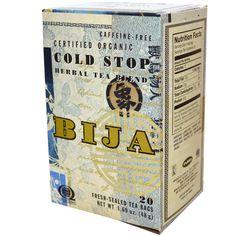 Flora, Bija, Cold Stop Herbal Tea Blend, Caffeine Free, 20 Fresh-Sealed Tea Bags, 1.69 oz (48 g) - iHerb.com. Bruk gjerne rabattkoden min (CEC956) hvis du vil handle på iHerb for første gang. Da får du $5 i rabatt på din første ordre (eller $10 om du handler for over $40), og jeg blir kjempeglad, siden jeg får poeng som jeg kan handle for på iHerb. :-)