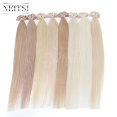 """Neitsi 16"""" 20"""" 24"""" 1g/s 50g 100g Indian Remy Human Hair Keratin U Nail Tip Straight Hair Extensions Pre Bonded Human Hairpieces"""