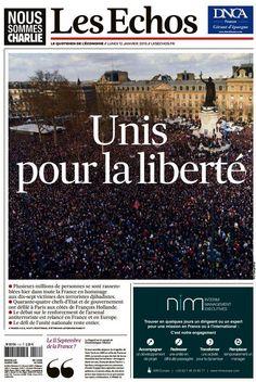 """La Une des Echos de ce 12 janvier 2015 : """"Unis pour la liberté"""""""