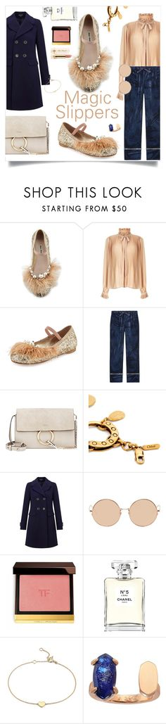 """I Can Do Anything Tonight in my Magic Slippers"" by maggiesinthemoon on Polyvore featuring Miu Miu, Miss Selfridge, Gucci, Chloé, Linda Farrow, Chanel, Too Faced Cosmetics, Blue Nile, Kendra Scott and chicflats"