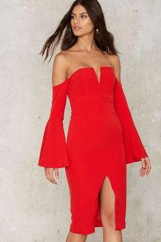 Bardot Heat Wave Off-the-Shoulder Midi Dress - Clothes | Valentine's Day | Cocktail Dresses | Red Dresses