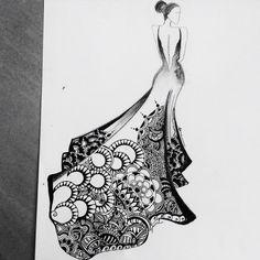 The dream bride. Doodle Art Drawing, Mandala Drawing, Pencil Art Drawings, Mandala Art, Art Sketches, Fashion Drawing Dresses, Fashion Illustration Dresses, Fashion Design Sketchbook, Fashion Design Drawings