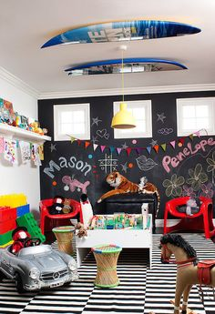 Let your kids get creative on a chalkboard wall.