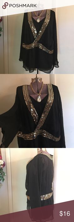 "Black Sheer Sequin Top Black sheer sequin top, gold sequins, crossover front, side hidden zipper, (no size/fabric label 24"" armpit to armpit, believe 2-3X) tank included, not a matching set, tank size 2X Tops Tunics"