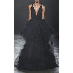 Marchesa Tiered Ball-Gown With Silk OmbréRoses (10'035 CHF) ❤ liked on Polyvore featuring dresses, gowns, sleeveless dress, ombre gown, silk dress, ball gowns and v neck evening gown