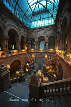 The Great Western Staircase, also known as the Million Dollar Staircase in the Capitol Building, Albany, NY
