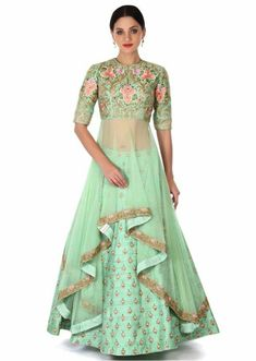 Indian lehenga=Green lehenga with long embroidered blouse only on Kalki Indian Gowns, Indian Attire, Indian Ethnic Wear, Pakistani Dresses, Indian Outfits, Indian Lehenga, Indian Designer Outfits, Designer Dresses, Green Lehenga