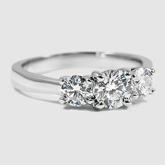 18K White Gold Three Stone Diamond Trellis Ring // Set with a 0.60 Carat, Round, Very Good Cut, G Color, VS1 Clarity Diamond #BrilliantEarth