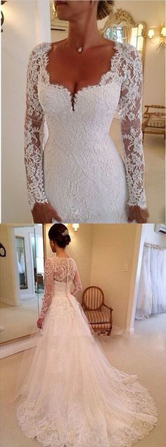 Elegant Sweetheart Long Sleeves Appliques Lace Wedding Dresses Chapel Bridal Gowns by MeetBeauty, $260.99 USD