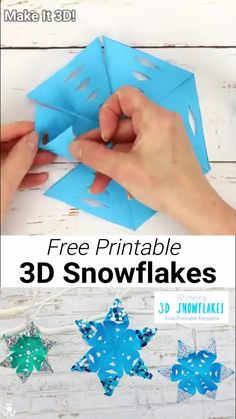 STUNNING 3D SNOWFLAKE CRAFT - perfect for hanging on the Christmas tree or for Winter themed fun! A Winter craft with a difference! To keep things super simple we've got a free printable template for you, available in 3 different sizes. Start your Winter paper craft today! #kidscraftroom #snowflakes #snowflakecrafts #christmas #ornaments #christmascrafts #wintercrafts #winteractivities #snow #kidscrafts #papercrafts #kidscraftroom