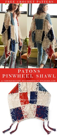 PATONS PINWHEEL CROCHET SHAWL It will be easy project shawl to crochet, which has beautiful pinwheels motif, what is very easy to work up and wearing pretty well! Level: upper beginner hook: 3,75 mm (F) Author: by yarninspirations. #freecrochetPatterns #shawl