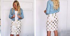 Womens Gold Polka Dot Pencil Skirt