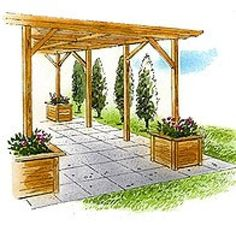 Build a Pergola in Your Backyard with One of These 15 Free Plans: Free Pergola Plan with Planters from Better Home and Gardens