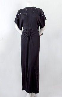 Adrian beaded crepe evening dress, c.1942.