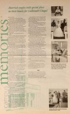 """Ohio University Today, Summer 1995. """"Campus Memories: Married couples hold special place in their hearts for Galbreath Chapel"""":: Ohio University Archives"""