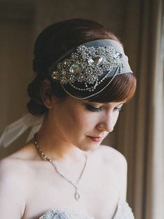 Crystal Headband Veil Head - pretty art deco styling