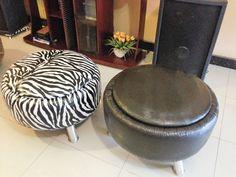 Puff baú feito com pneu,pés em alumínio,revestido com corino,feito por Puffs da Lane