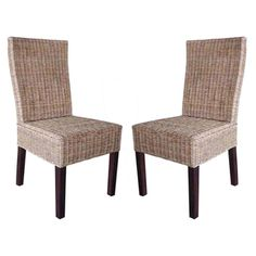 @Overstock - These wicker dining chairs are woven over in a spaced lattice pattern and has strong wood legs. Very sleek and contemporary rattan and woven wicker make up this set for a contract quality cane and wood rame chair.http://www.overstock.com/Home-Garden/Rattan-Living-Wicker-Dining-Chairs-Set-of-2/7637145/product.html?CID=214117 $227.99