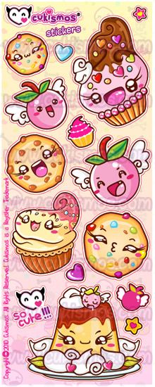 Desserts and Flying Cherries Stickers by ~SHIRA5 on deviantART
