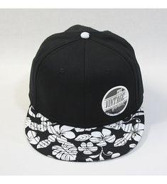 bef74b1c6a9135 Premium Plain Cotton Twill Adjustable Flat Bill Snapback Hats Baseball Caps  Flower/Black C812F46FNIF