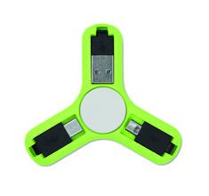 Spinner anti estrés con 3 conectores: USB, micro USB y Tipo C.