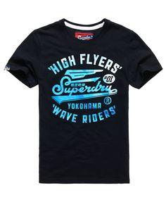 Superdry High Flyers Wave T-Shirt Marineblau