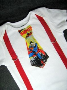 Superman Tie with Suspenders Onesie or Shirt by bkchicboutique, $20.00