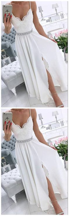 Spaghetti Straps White v Neck Chiffon Long Prom Dress White Evening Long Sleeve Evening Dresses, Evening Dresses Plus Size, Mermaid Evening Dresses, Formal Evening Dresses, Prom Dresses For Teens, Formal Dresses For Weddings, Wedding Dresses, Party Dresses, Long Party Gowns