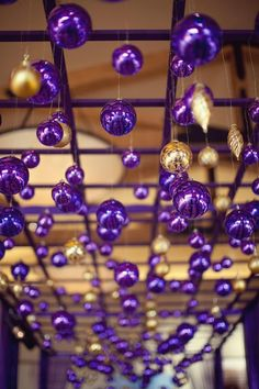 purple and gold ornament display