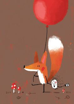 Greeting Cards This cute little illustration looks great and is very simple. I love when simple illustrations look great and effective as complicated illustrations tend to look busy and unclear. Fuchs Illustration, Children's Book Illustration, Art Fox, Happy B Day, Happy Art, Happy Kids, Happy Birthday Cards, Birthday Sweets, Birthday Wishes