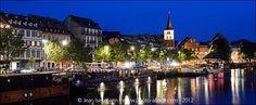 Le quai des pêcheurs la nuit en été, Strasbourg, Alsace