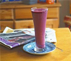 Beet Bravado~      1 cup cooked diced beets,  1/2 cup pomegranate juice,  8 oz greek yogurt, vanilla-    Blend and serve. Add ice cube to crush if desired.