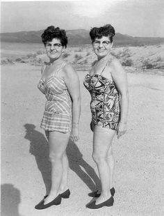 twins at the beach, circa 1950s