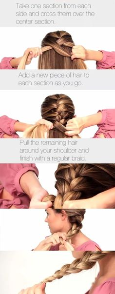 Easier way to help you French braid your own hair!    I fail at braiding so we'll hope this helps