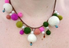 Needle felted ball necklace. Love!