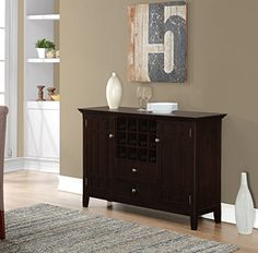Simpli Home Bedford Sideboard Buffet & Winerack, Tobacco Brown, Standard