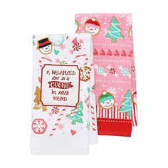 """St. Nicholas Square 2-Pack Christmas Kitchen Towels - """"A Balanced Diet is a Cookie in Each Hand"""" - Cool Kitchen Gifts"""