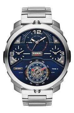 DIESEL® 'Machinus' Bracelet Watch, 55mm