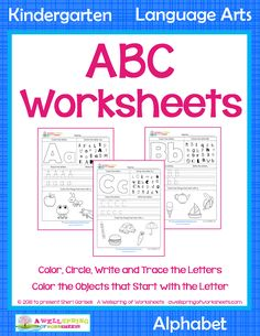 On these ABC worksheets kids get to color the upper and lowercase letter, identify and circle the letter, trace and write the upper and lowercase letter, and color the objects that start with the letter. Great learning fun! Please click through to see more! Letter Tracing Worksheets, Tracing Letters, Number Worksheets, Kindergarten Language Arts, Kindergarten Activities, Upper And Lowercase Letters, Lower Case Letters, Coloring Letters, Word Skills