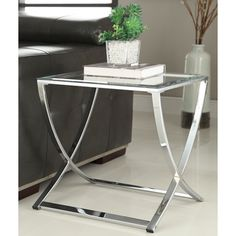 Contemporary Chrome Finish Glass Side End Table | Overstock.com Shopping - The Best Deals on Coffee, Sofa & End Tables
