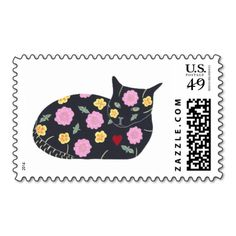 Painting of a Black Cat decorated with Flowers and Plants that are considered #safe for cats to eat, #cat postage #stamps