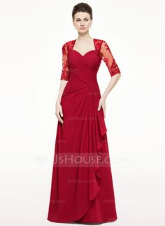 A-Line/Princess Sweetheart Floor-Length Chiffon Lace Mother of the Bride Dress With Cascading Ruffles (008062533)