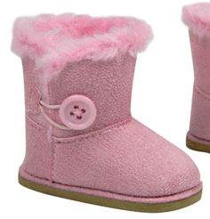 "Pink Fur Trim Winter Boots W/ Button made for 18"" American Girl Doll Clothes #Sophias"