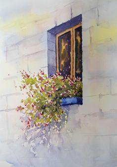 Loose Watercolour Floral Lesson: Tuscan Window by Joanne Thomas. See it on ArtTutor.com now! @@@¡¡¡¡¡¡€.....http://www.pinterest.com/nezahatmelike/kap%C4%B1lar%2Bpencereler/ €€€€€€€€€€€€€€€€€€€€€€€€€€€€€€€€€